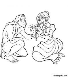 Printable Disney Tarzan And Jane Cartoons Coloring Pages - Printable Coloring Pages For Kids