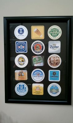 Framed beer coasters collected on our trip through Germany, Austria, Switzerland. Great souvenir from a wonderful trip.