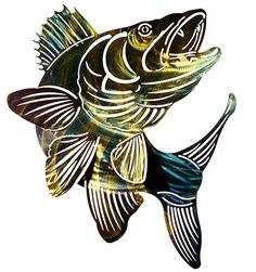 """Dimensions: 23""""H x 19""""W Color: Brown, gold and bronze Description: A trophy quality fish is rendered as metal wall art and features laser cut details and a rich color palette; made in America Material"""