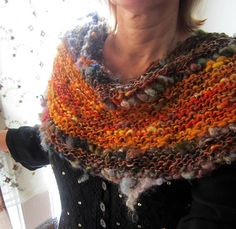 knit scarf autumn handknit cowl infinity scarf - rustic soft and warm forest gypsy splendor scarf on Etsy, $130.00