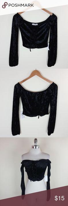 Off shoulder lace up crop top Off Shoulder velvet long sleeve crop top Tops Blouses