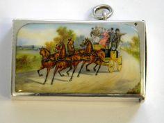 ANTIQUE VICTORIAN SILVER & ENAMEL VESTA CASE CHESTER 1899 (HORSES)
