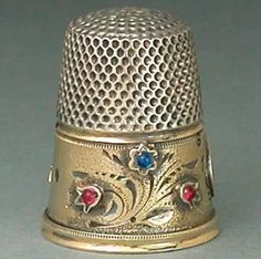 Antique Jeweled & Gilded Band, Silver Gabler Thimble. C. 1900's.