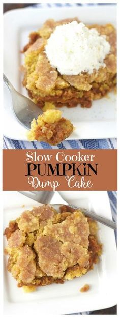 This Slow Cooker Pumpkin Dump Cake recipe is a simple, absolutely delicious easy dessert. Your house will smell amazing while it's cooking!