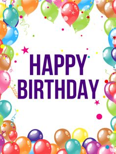 Birthday Balloon Frame Card. Shimmering balloons and colorful confetti decorate this fun birthday card. The bright balloons fill the edges while the simple message fills the inside of this card. Wish someone a happy birthday with this glitzy birthday card that is sure to delight.