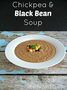 Easy Soup Recipe - Chickpea and Black Bean Soup. #healthyrecipe Made with pantry ingredients.