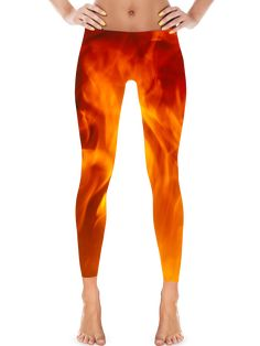 En Fuego, On Fire Leggings by Eternal Weekend Shiny, durable and hot. These polyester/spandex leggings will never lose their stretch and provide that support and comfort you love in unique designs.