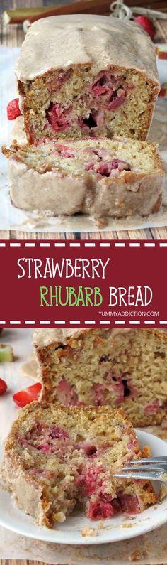 Rhubarb Bread - Yummy Addiction Strawberry Rhubarb Bread Drizzled With Maple Cinnamon Glaze Rhubarb Bread, Rhubarb Desserts, Just Desserts, Delicious Desserts, Dessert Recipes, Yummy Food, Banana Bread, Rhubarb Rhubarb, Fall Desserts