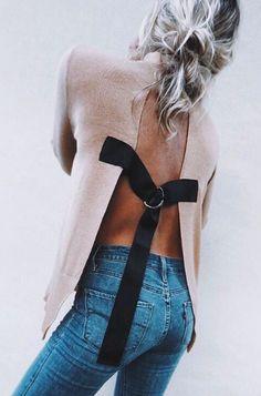 asos open back sweater + levi's denim