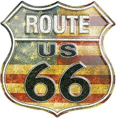 Route 66 Stars And Stripes Tin Sign at AllPosters.com