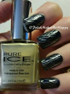 """Essie Nail Polish, """"Midnight Cami"""".  Using my new Creative Shop Stamper I used Pure Ice """"Flawless"""" with a stamping plate from Moyou Pro Collection XL 02. Loving this!"""