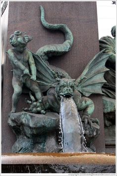 Dragon-dog figure on fountain outside Zürich Hauptbahnhof (Main Station). Altstadt (Old Town). Gothic Architecture, Architecture Details, Gothic Gargoyles, Dragons, Street Art, Ange Demon, By Any Means Necessary, Angels And Demons, Gremlins