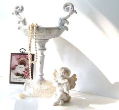 Victorian Shabby Chic White Brass Ornate by 3vintagehearts on Etsy, $39.00