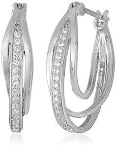 $27.65 Platinum-Plated Sterling Silver and Cubic Zirconia Triple-Hoop Earrings - http://freebiefresh.com/platinum-plated-sterling-silver-and-cubic-zirconia-review/