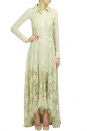 Cream geometrical and floral embroidery organza dress