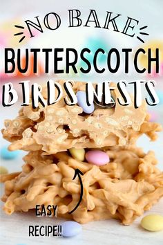 Butterscotch Bird Nests are a cute, sweet spring treat! Crunchy chow mein noodles covered in delicious butterscotch, topped off with M&Ms. #nobakecookies #nobakecandy Butterscotch Cookies, Spring Treats, Holiday Recipes, Party Recipes, Almond Bark, Mini Eggs, Baked Chips, Incredible Recipes