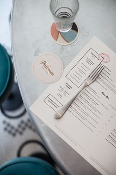Logotype, menu and coasters with gold foil detail designed by Here for Soho restaurant The Palomar