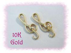 10K Gold ~ Treble Clef Music Note Earrings - Musician Teacher Musical Lover…