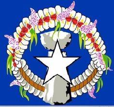 """Saipan Flag... BLUE symbolizes the blue ocean, Flower headband known as """"Mwa'a'r"""" is for the """"Carolinians"""" known as """"Refaluwasch"""", The Latte Stone is for the Chamorro's """"Rewo'o'l"""" and the star of course is for the US of A... :)"""