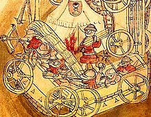 A Hussite Wagenburg - The Hussite community included most of the Czech population of the Kingdom of Bohemia, and formed a major military power. The Hussite Wars were notable for the extensive use of early hand-held firearms such as hand cannons. Medieval World, Medieval Town, Medieval Manuscript, Illuminated Manuscript, Kingdom Of Bohemia, Medieval Weapons, Fortification, 15th Century, Middle Ages
