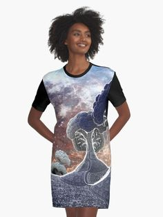 Created in Mandelbulb 3d. $45.00    Graphic T-shirt dresses feature your chosen design, by an independent artist  Sublimation printed 96% Polyester/ 4% Elastane front panel  Solid colour 100% Cotton back/ sleeves/ rib  Loose casual fit  Graphic T-Shirt dresses are made and printed in the USA #fractal #fractals #3d #art #space #trees #tree #forest #fantasy #digital