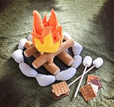 Life Size Cozy Campfire and S'mores Set  this is adorable would be cute to try and make a similar one for the district