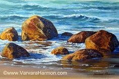 Beach Rocks, Acrylic on canvas by Varvara Harmon