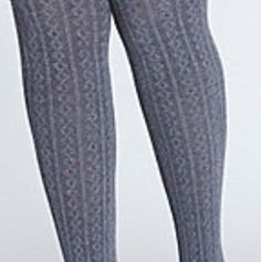 CATHERINES LIZ & ME CONTROL TOP CABLE KNIT TIGHTS - GRAY - PLUS SIZE 1X/2X #LizMeforCatherines #Tights
