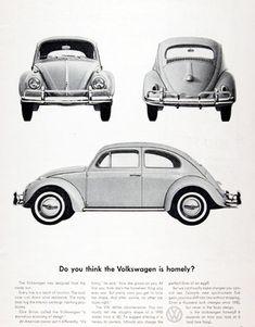 VW Volkswagen 1961 Think Beetle Is Homely - www.MadMenArt.com | Vintage Cars…