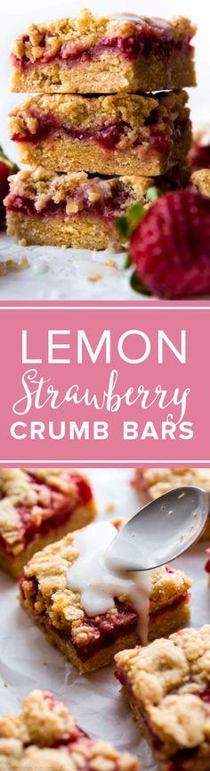 Strawberry crumble bars with lemon glaze. Fresh strawberry crumb bars recipe! http://sallysbakingaddiction.com/2017/03/13/lemon-strawberry-crumb-bars/