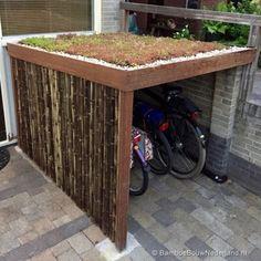 Outside bike storage Outside Bike Storage, Garden Bike Storage, Outdoor Bike Storage, Bicycle Storage, Shed Storage, Bike Storage Locker, Garage Velo, Bike Shelter, Pallet Shed