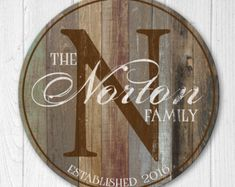 Personalized Wood Family Established Sign, Personalized Family Name Sign, Last Name Sign