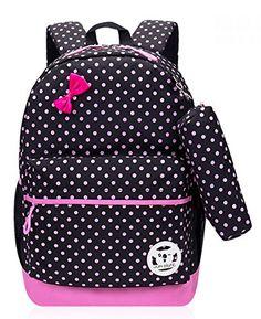 Dots Print Girls School Bags for Kids Elementary School Backpacks for Girls  Bookbags 6de0c69396eed