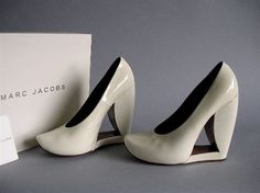 $350 from $1200 RARE RNUWAY Marc Jacobs Avante Garde Platforms Rare Art 38 7 7.5 37 White Patent Leather #MarcbyMarcJacobs #PlatformsWedges