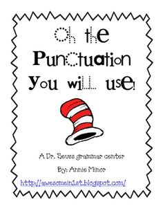 This grammar center was created to give students independent practice with placing the correct end punctuation at the end of sentences. Students w. Teaching Language Arts, Teaching Writing, Teaching Resources, Teaching Ideas, Dr Seuss Activities, Book Activities, Dr Seuss Day, Dr Suess, Grammar And Punctuation
