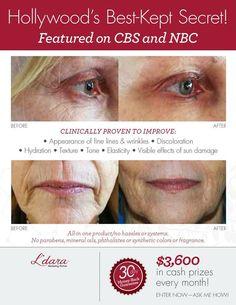 Want  to know the ingredients in L'dara Anti-Aging Skin Serum?  click here: https://ldaraserum.com/_Resources/pdf/Ingredients_Flyer_US_CA_EN.pdf   Guaranteed for 30 days or you money back. Visit:  www.SkinSerum.Ldara.com