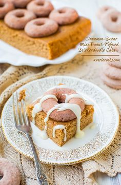 Cinnamon-Sugar Mini Donut-Topped Snickerdoodle Cake by @averie