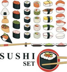 Big Sushi Set Various Great set of various different types of sushis isolated on white background. In ZIP -archive: eps version), png pixels, RGB ), jpg RGB). Created: GraphicsFilesIncluded: TransparentPNG Layered: No MinimumAdobeCSVersion: CS Tags: asian Sushi Drawing, Food Drawing, Sushi Set, Sushi Wrap, Different Types Of Sushi, Fete Marie, Food Sketch, Sushi Recipes, Sushi Design