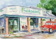 """""""Irish Social Club"""" - watercolor giclees, in Mobile Bay Scenics Live In The Now, Where The Heart Is, Sweet Home Alabama, Southern Comfort, Social Club, Local History, Artsy Fartsy, Irish, Original Paintings"""