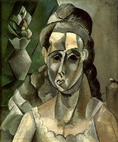 Pablo Picasso - 1909 Femme et un vase de fleurs. This painting shows Cubism which was very popular in the early 1900s. Cubism played with shapes and was very abstract