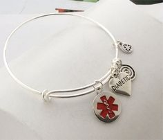Silver MEDICAL ALERT bangle bracelet  with Diabetic charm by Fall4LeavesWEDDINGS