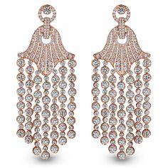 Jacob & Co. Rare Touch 18k rose gold earrings with 374 brilliant cut diamonds.