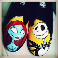 CUSTOM ORDER   Jack and Sally HandPainted Shoes by StaceChase, $100.00