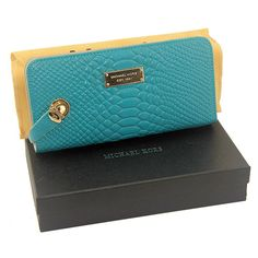 Michael Kors Embossed Logo Large Blue Wallet