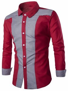 Plaid Color Block Long Sleeve Shirt - Red - - Men's Clothing, Men's T. - Men's style, accessories, mens fashion trends 2020 African Wear Styles For Men, African Shirts For Men, African Dresses Men, African Clothing For Men, African Men Fashion, Mens Fashion, African Style, Fashion Trends, Winter Shirts For Men