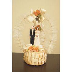 1930's vintage bride and groom wedding bridal cake topper
