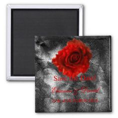 SAVE THE DATE magnet matching red rose on silver black wedding invitations