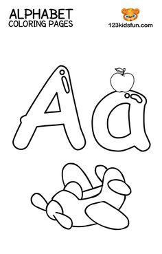 Free Printable Alphabet Coloring Pages for Kids. You are wants learn your child the alphabet. These worksheets are ideal for preschool, school, kindergarten Coloring Worksheets For Kindergarten, Preschool Coloring Pages, Coloring Pages For Kids, Coloring Sheets, Free Coloring, Letters Kindergarten, Kindergarten Learning, Letter A Coloring Pages, Coloring Letters
