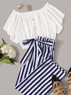 To find out about the Frilled Button Bardot Top & Striped Paperbag Waist Pants Set at SHEIN, part of our latest Two-piece Outfits ready to shop online today! Cute Comfy Outfits, Cute Girl Outfits, Cute Summer Outfits, Pretty Outfits, Stylish Outfits, Stylish Dresses, Casual Summer, Summer Clothes, Spring Outfits