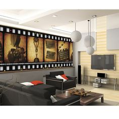 Film Strip Wall. I want to do this except with black and white scenes from UP
